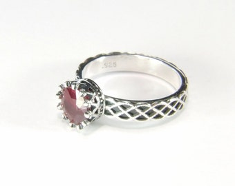 Ruby (7.5mm Natural Ruby), 7.5mm x 2.35 Carat, Handmade Sterling Silver Dress Ring