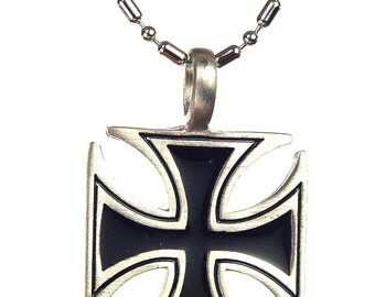 """German Iron cross pewter pendant necklace with 24"""" chain  5330K"""
