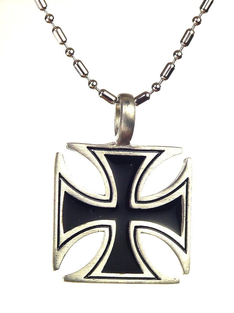 german iron cross pewter pendant necklace with 24 chain