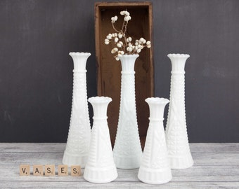 Vintage Milk Glass Bud Vases, Tapered w/ diamond point pattern (set of 5).