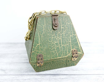 Vintage Wood Purse, Cube shaped w/ drop down opening, Avocado green and gold crackle finish, metal hardware and chain