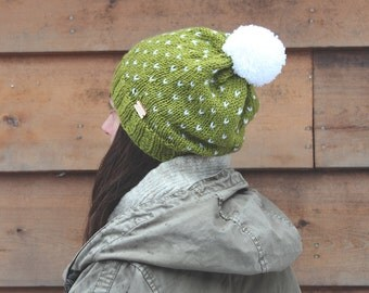 Marble Mountain Hat - Moss green speckled knit hat with pom-pom - Ready to Ship