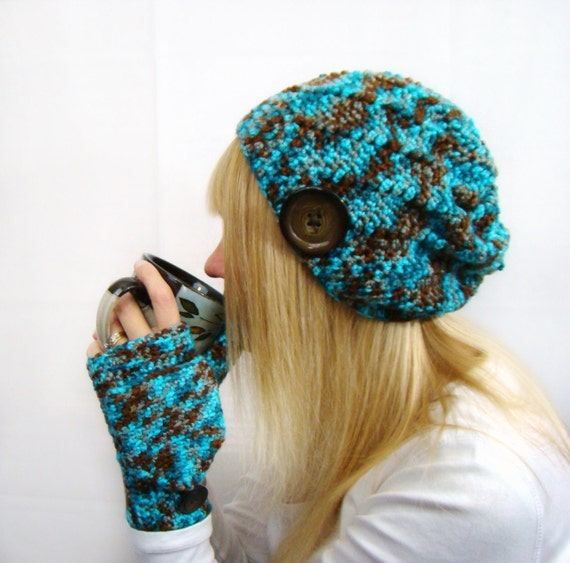 Three Piece Set Slouch Hat Crochet Beanie Womens Mittens Convertible Fingerless Waterscape variegated Blues and Browns Whipped Stitch