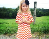 Handmade...Orange Chevron Childrens Peasant Dress...Handmade Clothing...Childrens Clothing...Baby Clothing...Peasant Dresses