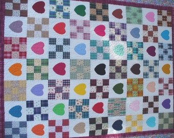 Colorful Hearts & Nine Patch Quilt