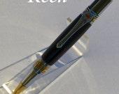 gf - Keen Handcrafted Handmade Water Buffalo Horn Broadwell Art Deco Gold TN and Chrome Ball Point Pen