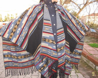 Aztec blanket scarf/Oversized tribal PONCHO- wool blend flannel Tribal scarves shawl Ethnic Turkish kilim,mexican,woman- man winter fashion