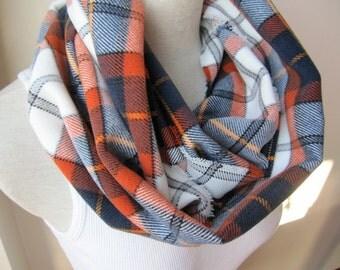 BRONCOS Infinity scarf -Navy blue orange white tartan plaid infinity scarf woman man winter fashion,loop snood scarf-daddy mommy me scarf