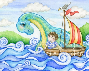 "Boy and boat ORIGINAL watercolour painting, boys room decor, loch ness monster, dinosaur, children's painting "" The Boy and his Waterhorse """