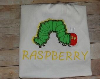 The Very Hungry Caterpillar shirt , Caterpillar shirt , personalized shirt , caterpillar appliqué shirt , caterpillar embroidery design