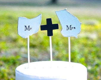 State Cake Topper Set | Rustic Mr & Mrs | State Wedding | Personalized | Free Shipping