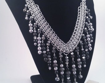 Midnight Mist, a Multi Gemstone Dragonscale and Half Persian Chainmaille Statement Necklace