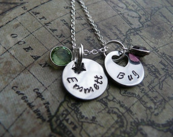Hand stamped stack necklace, 2 disc, pendant,  personalise with names or wording, childrens names