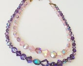 Pink & Purple Faceted Crystal Necklace, Double Strand Bridal Vintage Necklace, Aurora Borealis Beads