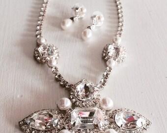 Gorgeous Juliana Rhinestone Necklace Earring Set, genuine Vintage Necklace, Delizza Elster Bridal Jewelry