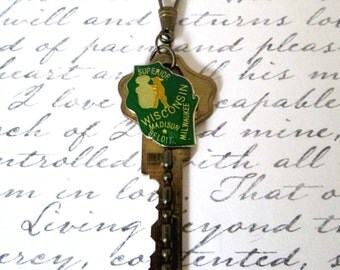Key To Wisconsin Vintage Altered Key Green Enamel Map Of Wisconsin Charm Pendant