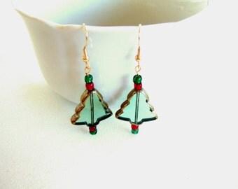 Christmas Earrings Handmade Earrings Green Earrings Cute Earrings Lamp Work Glass Christmas Tree Earrings Stocking Stuffer Gifts for Her