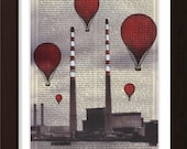 Red Balloons Over Dublin Poolbeg Power Station Mixed Media Acrylic Paint Print on repurposed 1880's Page mixed media digital print