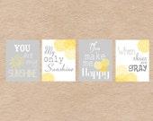 "You Are My Sunshine 8x10"" Nursery Art DIY Printable -  Grey & Yellow"