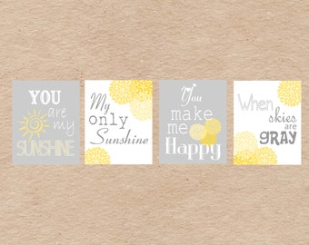"You Are My Sunshine 8x10"" Nursery Art DIY Printable -  Grey & Yellow"