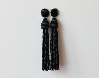 Beaded Tassel Clip-On Earrings Black (made to order)