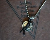 Halloween Jewelry Steampunk Necklace, The Raven Necklace, Edgar Allen Poe Jewelry, Steampunk Jewelry, gothic Jewelry, Unisex Necklace,