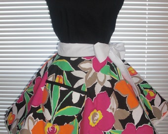 Fifties Style Sweetheart Retro Apron Wildflowers paired with Black Cotton Floral Circular Flirty Skirt