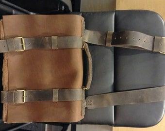 Many Pockets Messenger Bag/Leather Men's Crossbody Bag/Satchel Shoulder Bag/Custom Leather Briefcase/Mad Men Briefcase