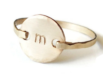 Personalized Gold Ring - Initial Gold Filled Ring - Gold Circle Ring - ID Ring