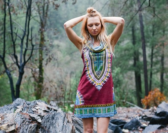 Short Day Tripper Hoodie Dress, Ox Blood Color, Festival, Hippie, Gypsy, Wanderlust, Psy, Boho, Tribal, Navajo, Mini Dress