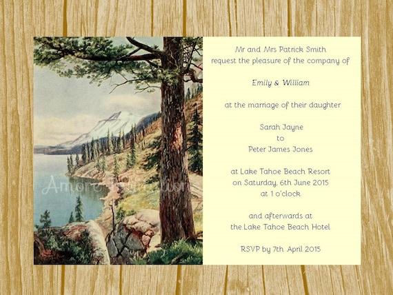 Lake Themed Wedding Invitations: DIY Printable A5 Vintage Lake Tahoe Wedding / By