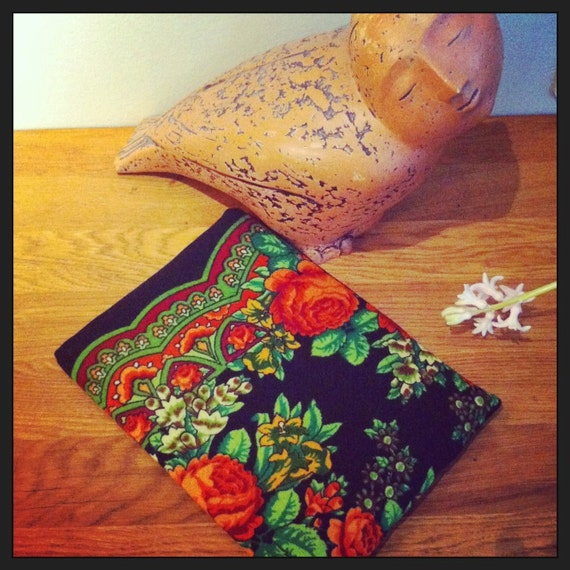 Russian Style MacBook Air sleeve from traditional Russian Shawl from Pavlovo Posad by makeYOUmine