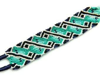 Teal Geometric Diamond Handwoven Braided Friendship Bracelet - Micro Macrame Braclet is a Great Gift for Best Friends