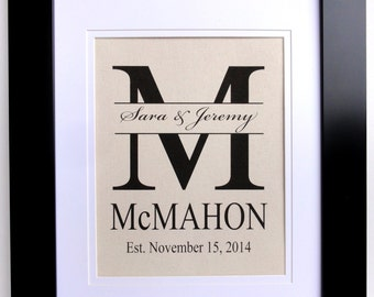 Personalized Cotton Print-  Monogram with Last Name, Couples First Names and Est. Date- Perfect Wedding, Anniverary or Shower Gift