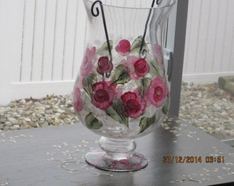 Candle Holder with oink Roses hand painted