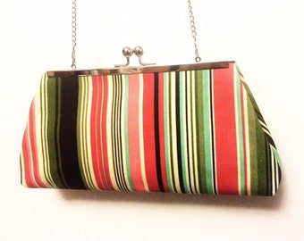 LATE NITE striped straight kisslock framed clutch purse evening bag hand bag thrifted fabric, recycled fabric remnant