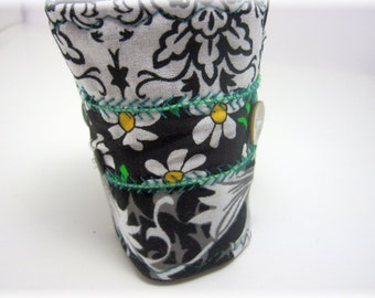 Daisy Dew Patchwork Bracelet Fabric Cuff Boho Gypsy Black n White