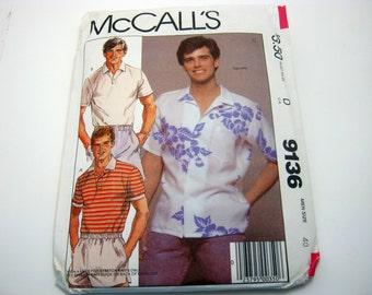 McCall's 9136 Men's Button1980's  Shirt Size 40