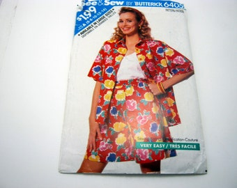 Butterick 6405 Pattern old style shorts and shirt Size 6 -14 1988 Vintage