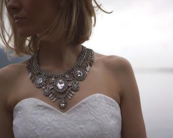 Lauren - Glistening Swarovski Crystals Wedding Necklace, Statement Necklace - Ready to Ship