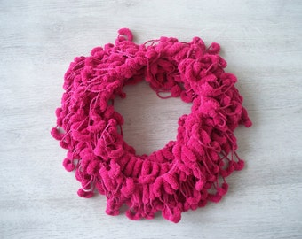 SALE! Raspberry Pompom Scarf - Soft Scarf - Cocoon, Mulberry Yarn - Autumn Accessories - Chunky