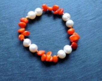 Pearl bracelet, coral bracelet, pearls, coral, bride, wedding