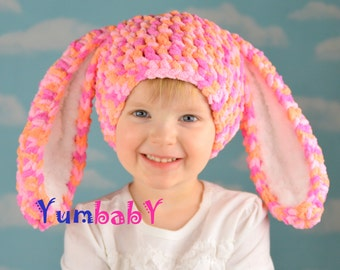 Bunny Hat Pink and Orange Easter Bunny Rabbit Ears Beanie