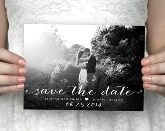 Printable photo save the date card - Arianna & Cailan.