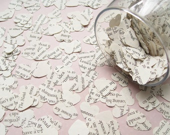 2000 Heart Novel Book Wedding Confetti - 21 choices include Alice in Wonderland, Harry Potter, The Notebook, Roald Dahl, Star Wars