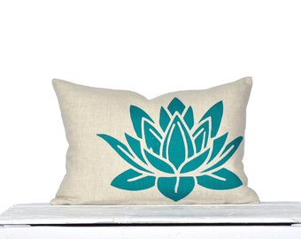 Water Lily Pillow Cover - Oatmeal Linen/ Teal