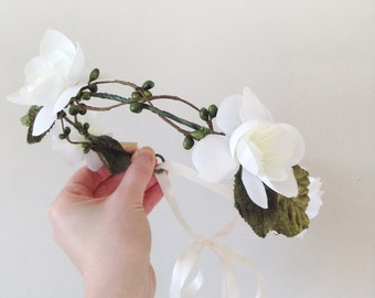 Fae Wood 'Raisa' Wedding Flower Hair Piece - White Rustic Woodland Wedding