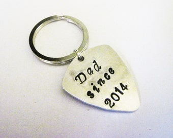 Guitar Pick Keychain Custom Dad Gift Hand Stamped Dad Est. Dad since, personalized gift, stamed keychain, engraved guitar pick key chain