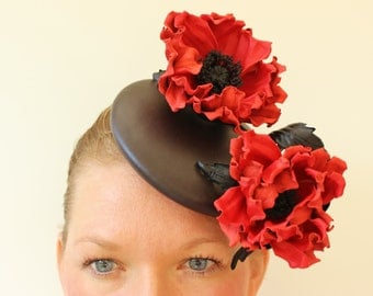 Leather cocktail hat with red poppy, races leather hat, mini leather beret, leather fascinator, red leather poppy headpiece