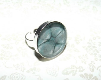 Metallic Turquoise and Silver Marble Ring